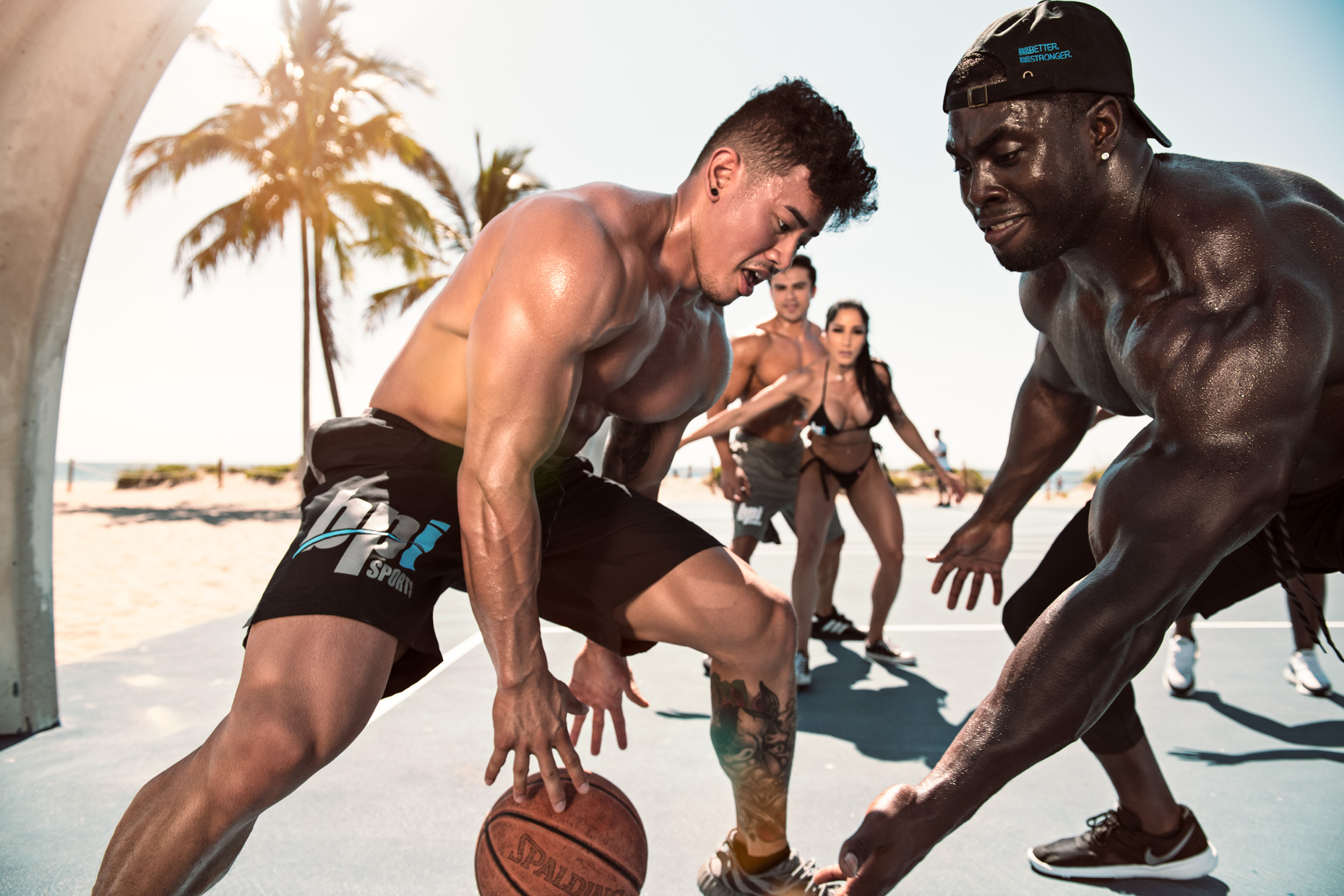 BPI Sports supplement brand ambassador athlete basketball photoshoot, Steven Cao and Nevin Wood