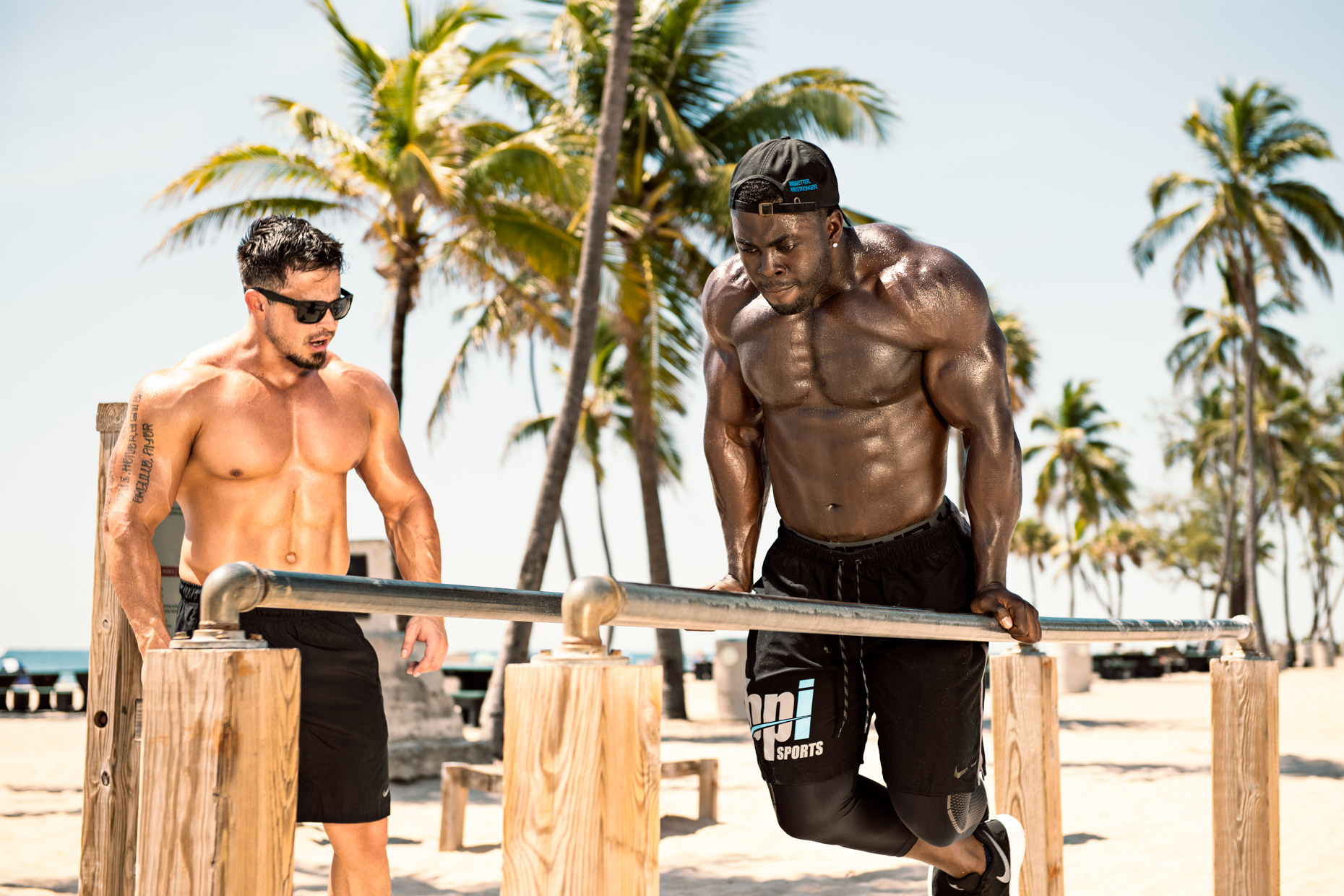 BPI Sports supplement brand ambassador athlete fitness photoshoot, Tyrone Bell and Nevin Wood