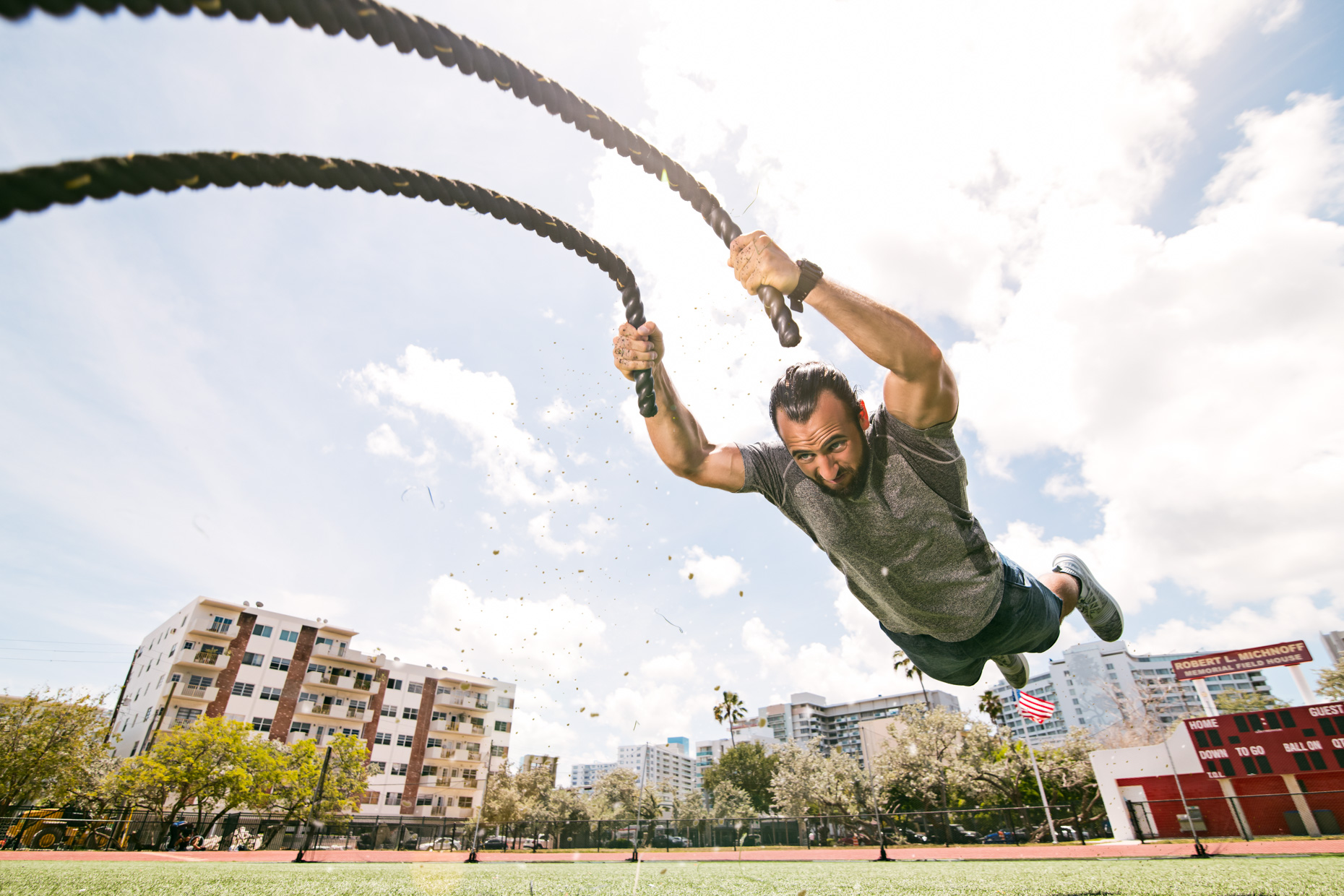 Anthony Mendez - Superman battle ropes - James Woodley Photography - Miami Fitness Photographer