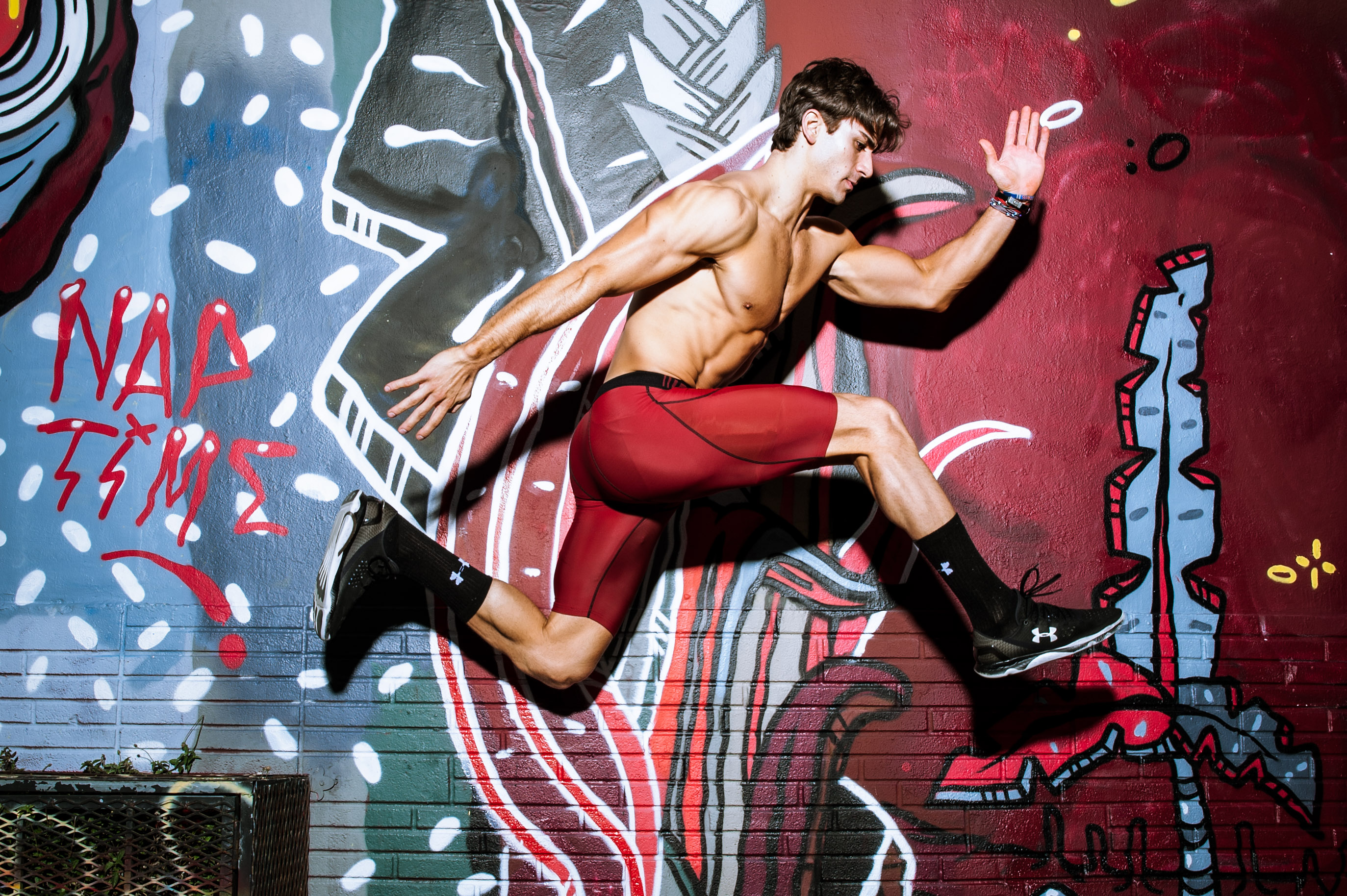 Niv Zinder - Athlete and fitness model at the Miami Wynwood Arts District Graffiti Walls