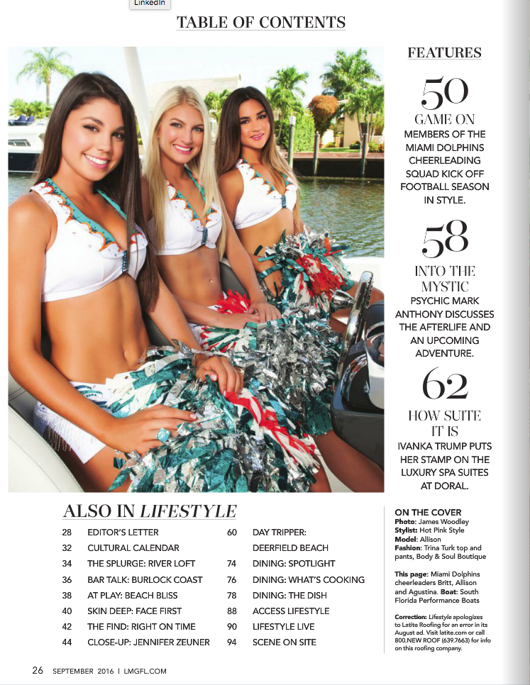 Las Olas Lifestyle Magazine - Miami Dolphins Cheerleaders - Cover shoot - Contents